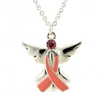 Necklace - Necklace Pink Ribbon Charm - Pink