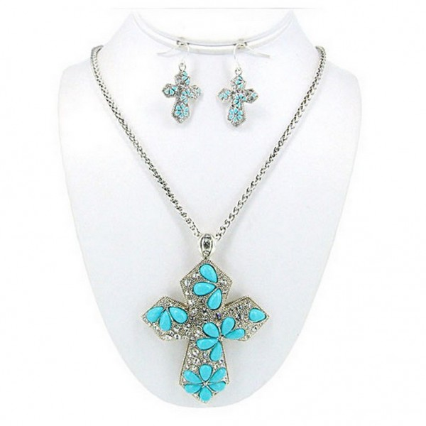 Cross Charms Necklace & Earrings Set  - NE-OS00980ASTQS