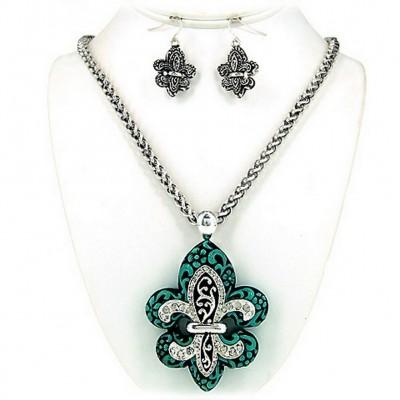 Western Style - Casting Necklace & Earrings Set w/ Fleur De Lis Charm - NE-OS01843ASTQS
