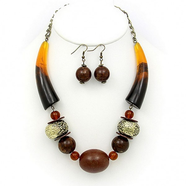 Necklace & Earrings Set: Turquoise Stones w/ Faux Amber Horn Shape Charms - NE-PNE1473BRW