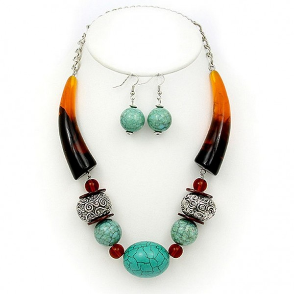 Necklace & Earrings Set: Turquoise Stones w/ Faux Amber Horn Shape Charms - NE-PNE1473TL-BRW