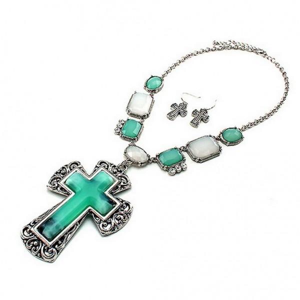 Cross Charm Necklace & Earrings Set - Casting Cross Charm w/ Genuine Stones  - NE-QNE7727ARTQ