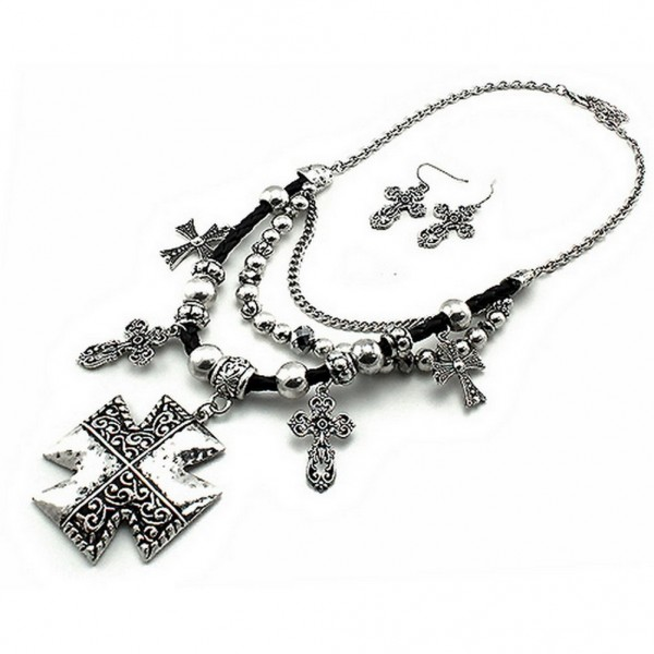 Cross Charm Necklace & Earrings Set - Casting Multi Cross Charms - NE-QNE7900SB