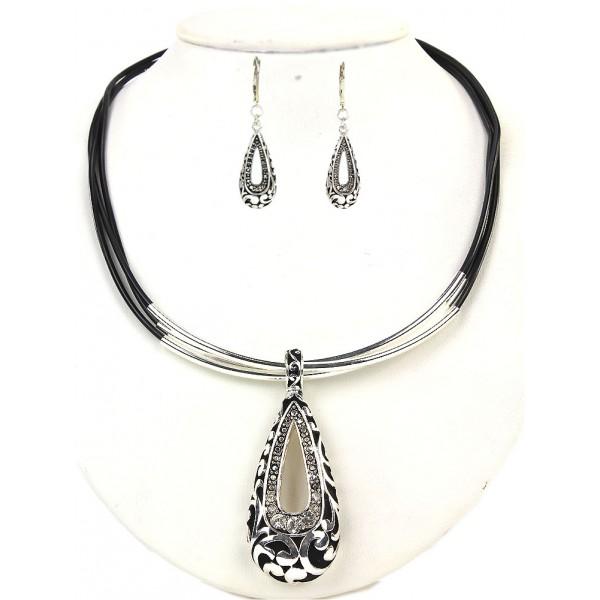Western Style Teardrop Charm w/ Rhinestones Necklaces & Earring Set w/ Whipped Strap - 16'' - NE-S6703LASCY