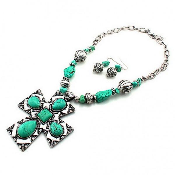 Cross Charm Necklace & Earrings Set - Casting Cross Charm w/ Turquoise Stones - NE-SNE7205SBTQ