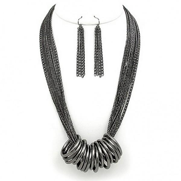 Multi Chain Strand w/ Multi Rings Necklace & Earrings Set - Hematite - NE-WNE25506HEMA