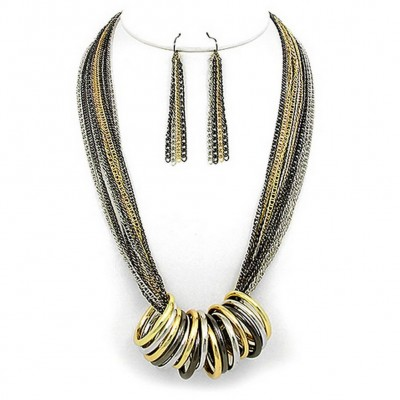 Multi Chain Strand w/ Multi Rings Necklace & Earrings Set - Hematite - NE-WNE25506MULT