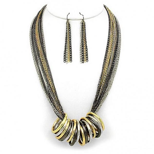 Multi Chain Strand w/ Multi Rings Necklace & Earrings Set - Hematite - NE-WNE25506MULT