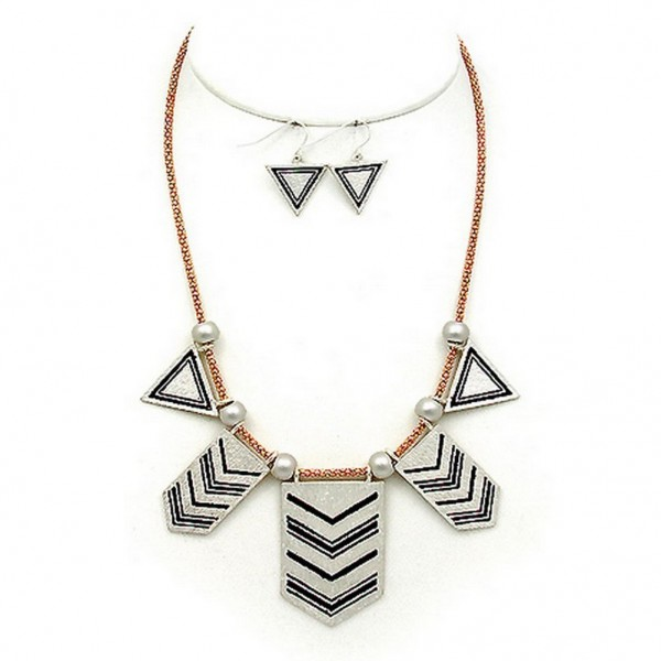 """Necklace & Earrings Set: Geometric Charms Accent w/ Faux Pearls – 16"""" - NE-WNE656GDSL"""