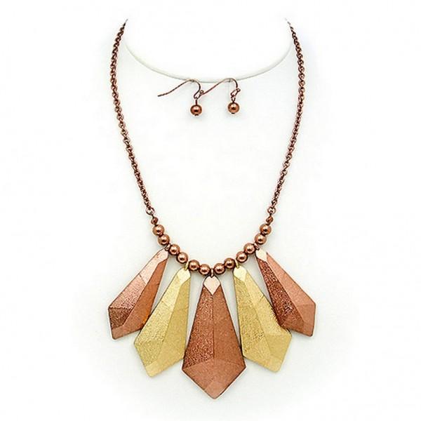 "Necklace & Earrings Set: Geometric Pendant – 12"" - NE-WNE658GDCH"
