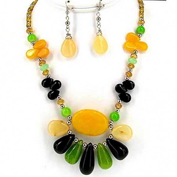 Semi-Precious Stone Multi-Strand Necklace & Earrings Set - Yellow Agate, Onyx Jade - NE-WS0722RDYEL