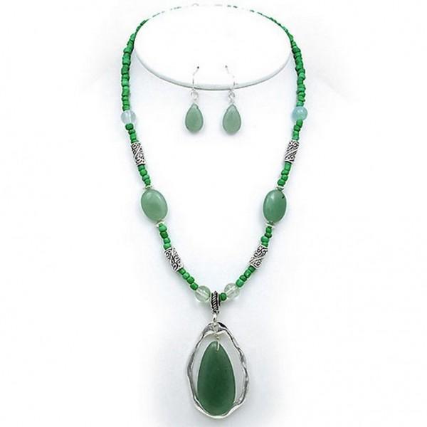 Semi-Precious Stone Necklace & Earrings Set - Green - NE-WS0738ASAVE