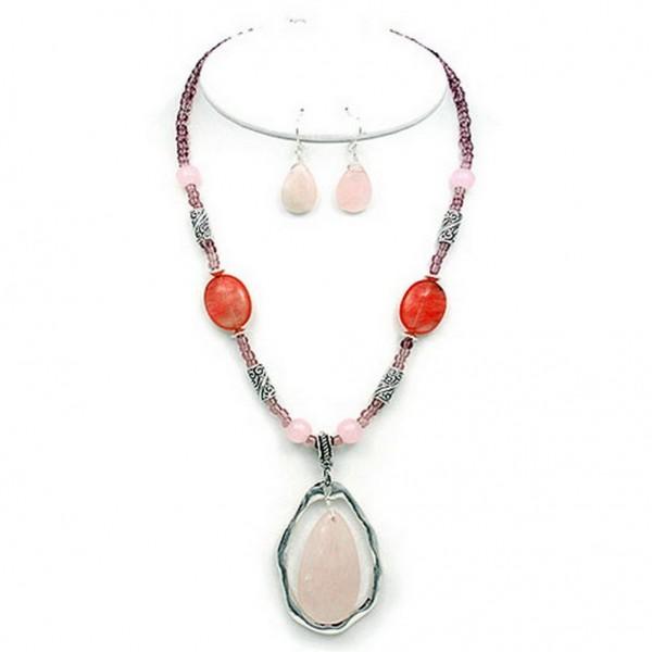 Semi-Precious Stone Necklace & Earrings Set - Rose Quartz  - NE-WS0738ASROQ