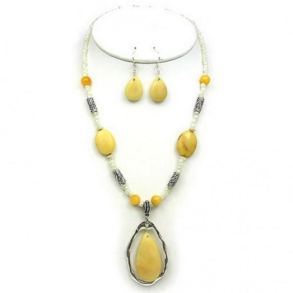Semi-Precious Stone Necklace & Earrings Set - Yellow Quartz - NE-WS0738ASYEL