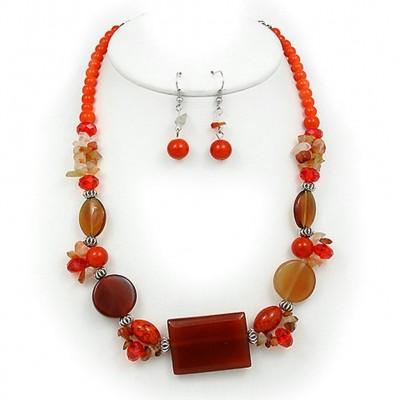 Semi Precious Stone Necklace & Earrings Set - Carnelian - NE-WS0834RDCAN