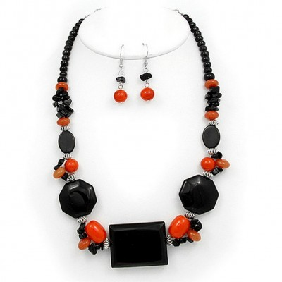 Semi Precious Stone Necklace & Earrings Set - Onyx - NE-WS0834RDONX