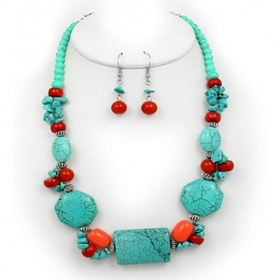 Semi Precious Stone Necklace & Earrings Set - Turquoise - NE-WS0834RDTQS