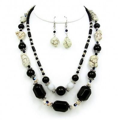 Semi Precious Stone Double Strand Necklace & Earrings Set - Onyx - NE-WS0835RDBLK