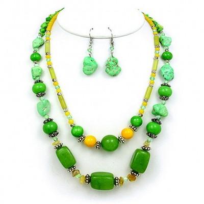 Semi Precious Stone Double Strand Necklace & Earrings Set - Green - NE-WS0835RDGRN