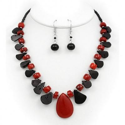 Semi Precious Stone Necklace & Earrings Set - Onyx - NE-WS0846RDONX