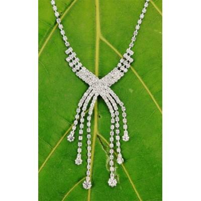 Rhinestone Vintage Necklace & Earrings Set - NE-10893