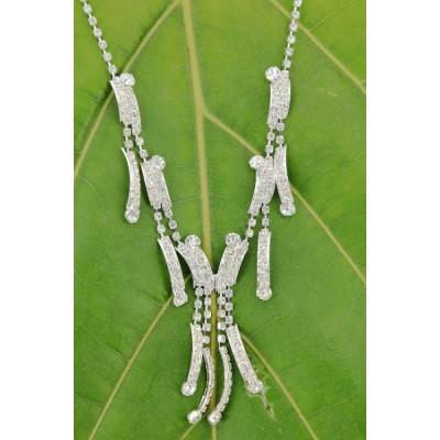 Rhinestone Vintage Necklace & Earrings Set - NE-11956