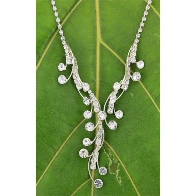 Rhinestone Vintage Necklace & Earrings Set - NE-2840CL