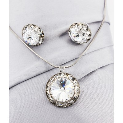 Roundelle Crystal Necklace & Post Earrings Set - Clear - NE-40007S-CR