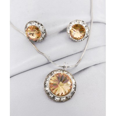 Roundelle Crystal Necklace & Post Earrings Set - Topez - NE-40007S-LCT