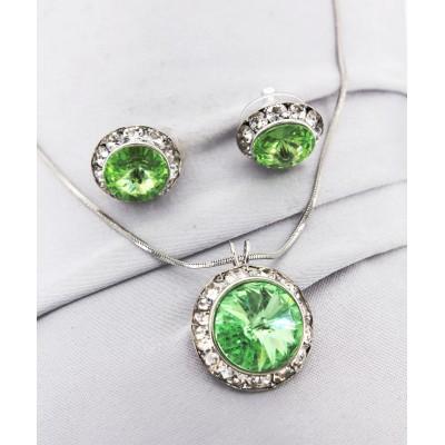 Roundelle Crystal Necklace & Post Earrings Set - Peridot -NE-40007S-PE