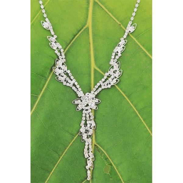 Rhinestone Vintage Necklace & Earrings Set - NE-NK0639CL