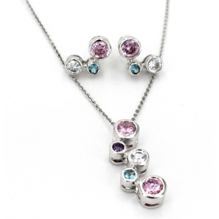 Sterling Silver Crystal Necklace and Earring Set - NE-E147MIX