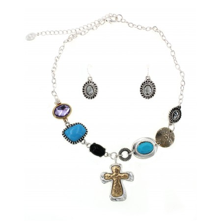Western Style - Casting Cross Charm Necklace & Earrings Set - NE-ACQS1035
