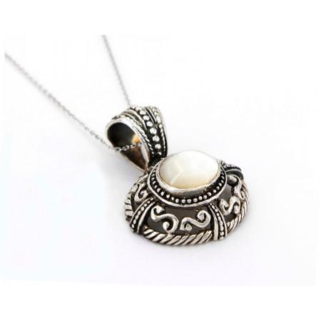 Casting Silver Filigree Necklace w/ Oval White Jade Pendant - NE-P4308