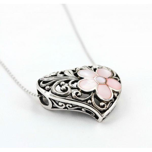 Casting Silver Filigree Heart Charm Necklace w/ Rose Quartz Flower Accent - NE-P5297PK