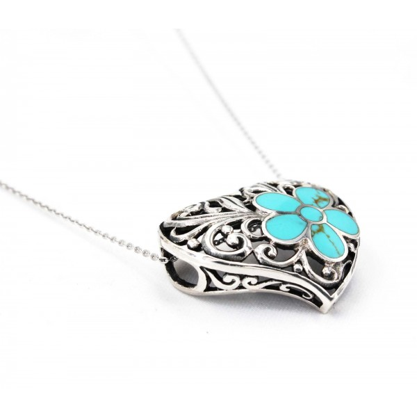 Casting Silver Filigree Heart Charm Necklace w/ Turquoise Flower Accent - NE-P5297TQ