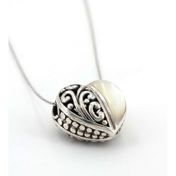 Casting Silver Filigree Heart Charm  Necklace with White Jade Accent - NE-P5384