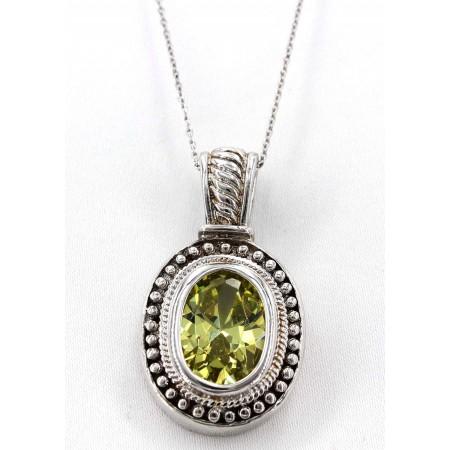 Casting Silver Topaz Pendant Necklace - Premium Rhodium Plating - NE-PER160GN