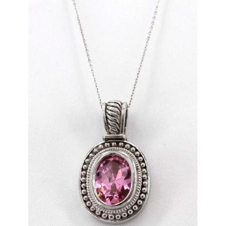 Casting Silver Topaz Pendant Necklace - Premium Rhodium Plating - NE-PER160PK
