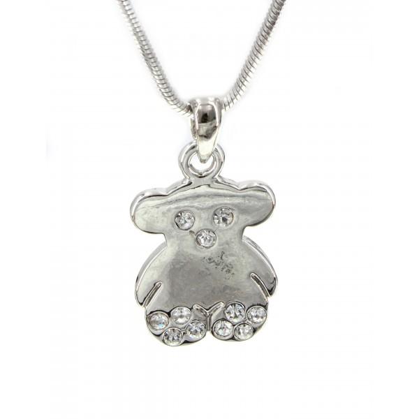 T-Bear Charm w/ Crystals Necklace - Rhodium Plating - Clear - NE-N3407CL