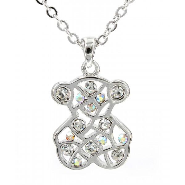 T-Bear Charm w/ Crystals Necklace - Rhodium Plating - Clear - NE-N3421CL
