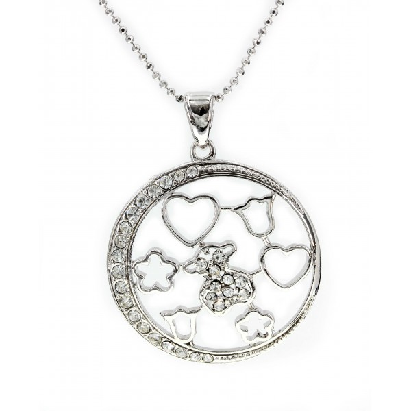 T-Bear w/ Circle Charm Crystals Necklace- Rhodium Plating - Clear - NE-N4204CL