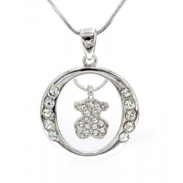 T-Bear Charm w/ Crystals Necklace - Rhodium Plating - Clear - NE-N4207CL