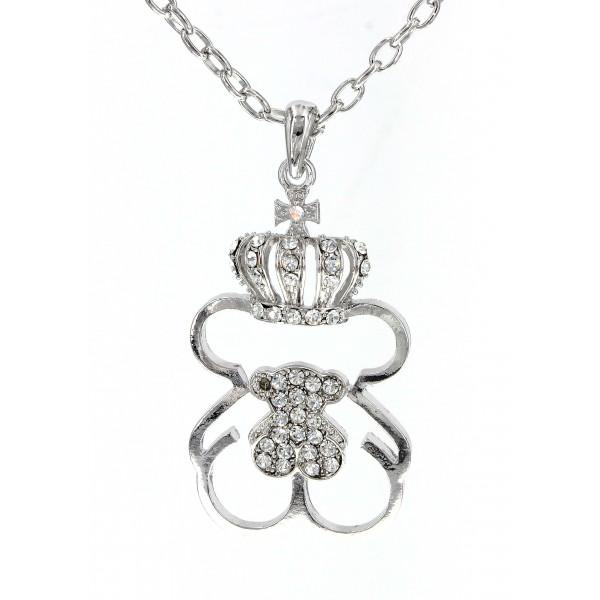 T-Bear Charm w/ Crystals Necklace - Rhodium Plating - Clear - NE-N4393CL