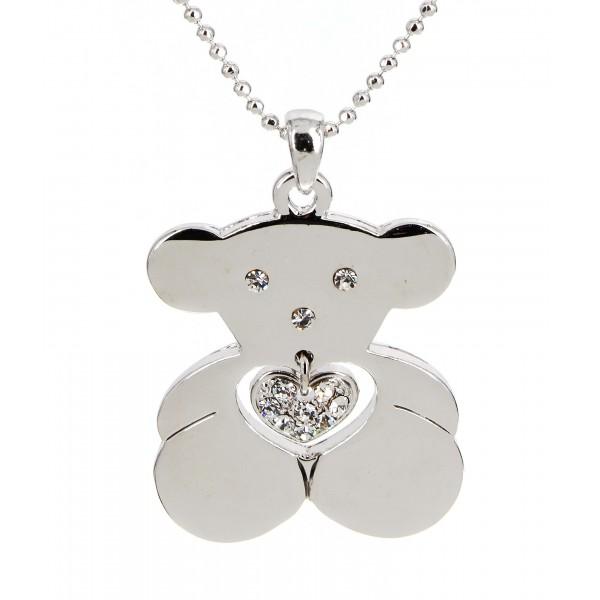T-Bear Charm w/ Crystals Necklace - Rhodium Plating - Clear - NE-N4490CL