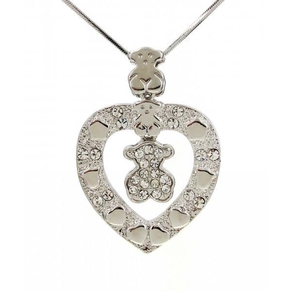 T-Bear Charm w/ Crystals Necklace - Rhodium Plating - Clear - NE-N4495CL