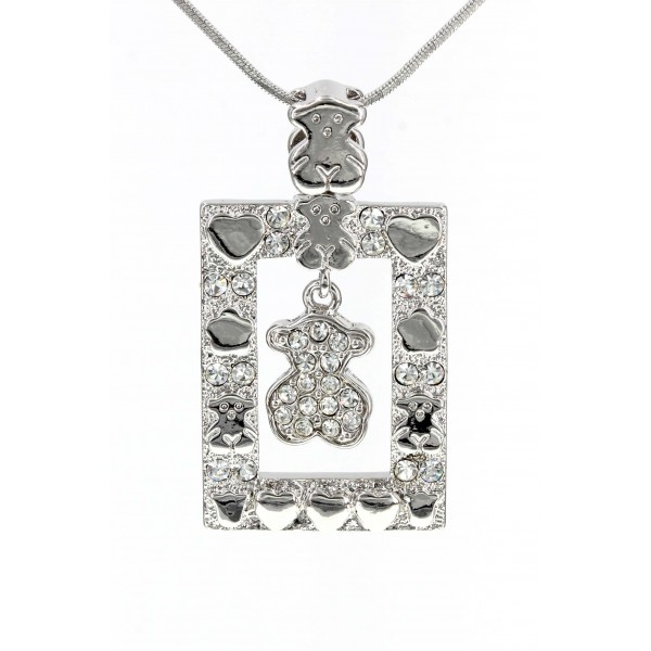 T-Bear w/ Hearts Charm Crystals Necklacle  - Rectangle Shape- Rhodium Plating - Clear - NE-N4496CL