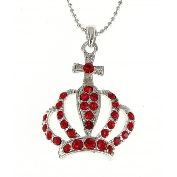 Rhinestone Crown - Rhodium Plating - Red Colors - NE-N3044RD