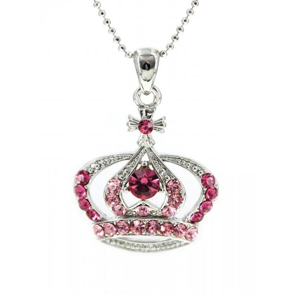 Swarovski Crystal Crown Charm - Medium Size - Pink - NE-N3329PK