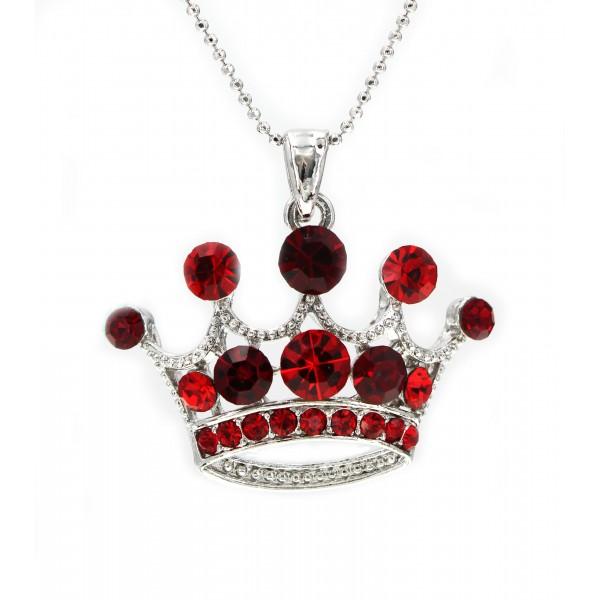 Rhinestone Crown - Rhodium Plating - Made in Korea - Red - NE-N5382RD